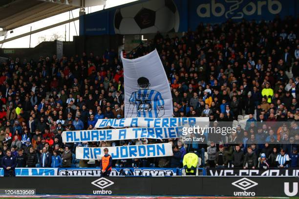 A fan tribute to Jordan Sinnott during the Sky Bet Championship match between Huddersfield Town and Queens Park Rangers at John Smith's Stadium on...