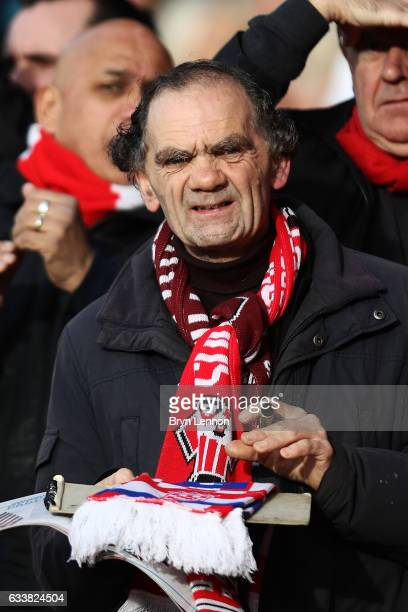 A fan waits for the players at the start of the Premier League match between Southampton and West Ham United at St Mary's Stadium on February 4 2017...