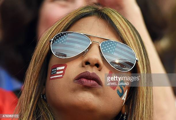 A fan waits for the start of the Group D match of the 2015 FIFA Women's World Cup between USA and Australia at the Winnipeg Stadium on June 8 in...