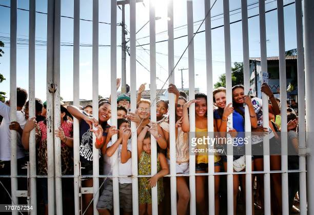 Fan waits outside the Estadio Presidente Vargas stadium during a Brazil training Session ahead of their Confederations Cup 2013 match against Mexico...