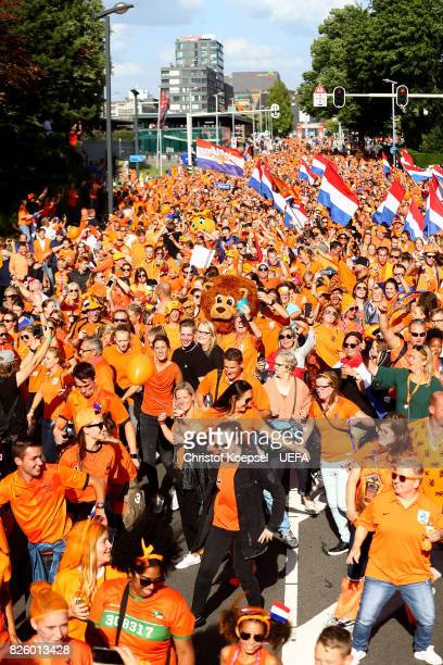 A fan walk tour from the city center of Enschede to the stadium prior to the UEFA Women's Euro 2017 Second Semi Final match between Netherlands and...