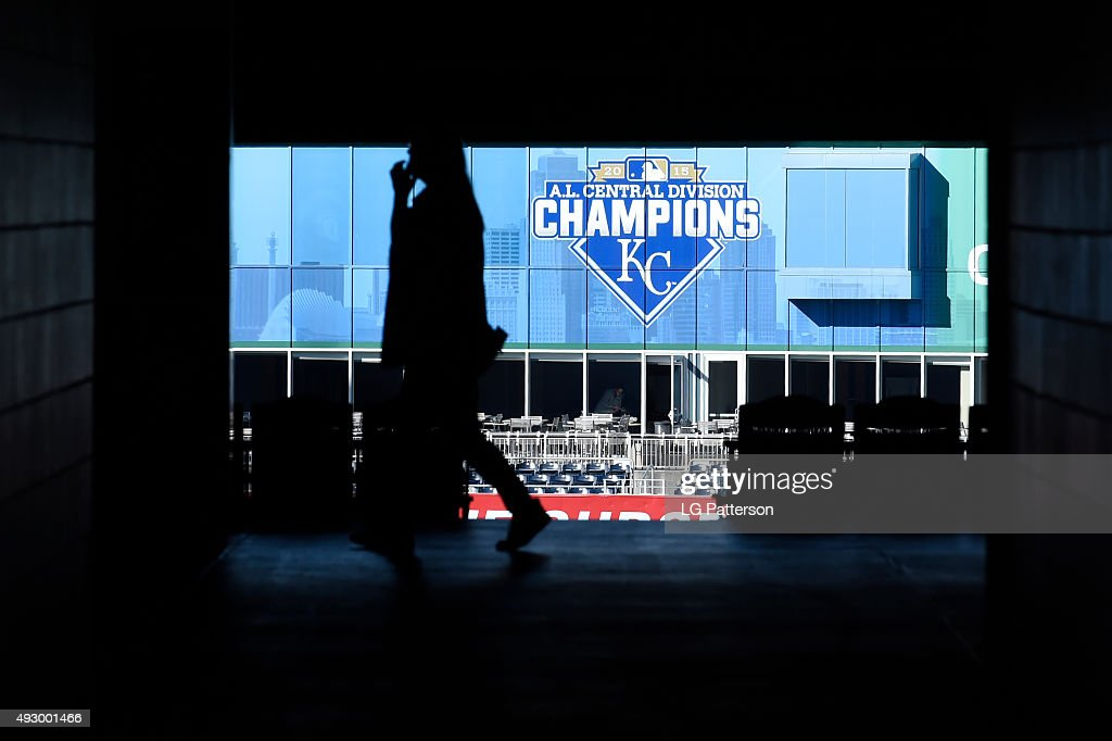 A fan walks through the concourse before Game 1 of the ALCS between the Toronto Blue Jays and the Kansas City Royals at Kauffman Stadium on Wednesday, October 14, 2015 in Kansas City Missouri.