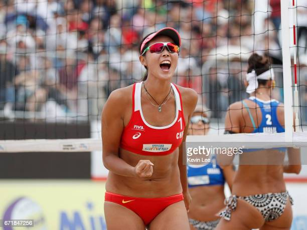 Fan Wang of China reacts at the FIVB Beach Volleyball World Tour Xiamen Open 2017 on April 23 2017 in Xiamen China