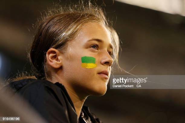 A fan watches on during game two of the International Twenty20 series between Australia and England at Melbourne Cricket Ground on February 10 2018...