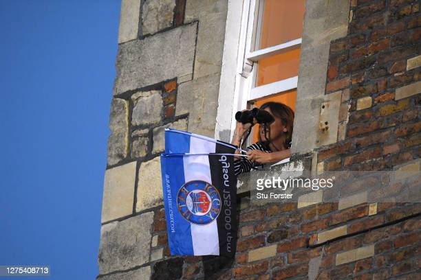 A fan watches on during the Gallagher Premiership Rugby match between Bath Rugby and Gloucester Rugby at The Recreation Ground on September 22 2020...