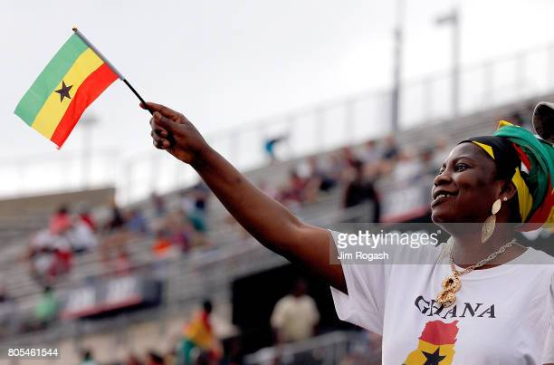 A fan watches the pregame activities before a international friendly between USA and Ghana at Pratt Whitney Stadium on July 1 2017 in East Hartford...