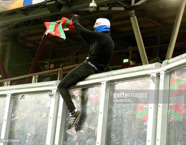 A fan waves a basque flag during the UEFA Europa League second leg round of 32 football match between Real Sociedad and FC Salzburg on February 22...