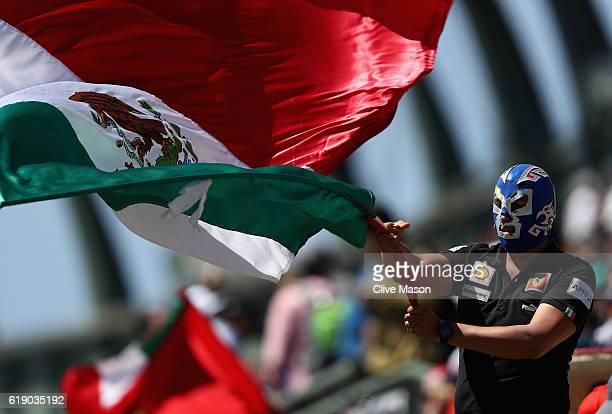 A fan waves a Mexican flag while wearing a lucha libre mask during qualifying for the Formula One Grand Prix of Mexico at Autodromo Hermanos...