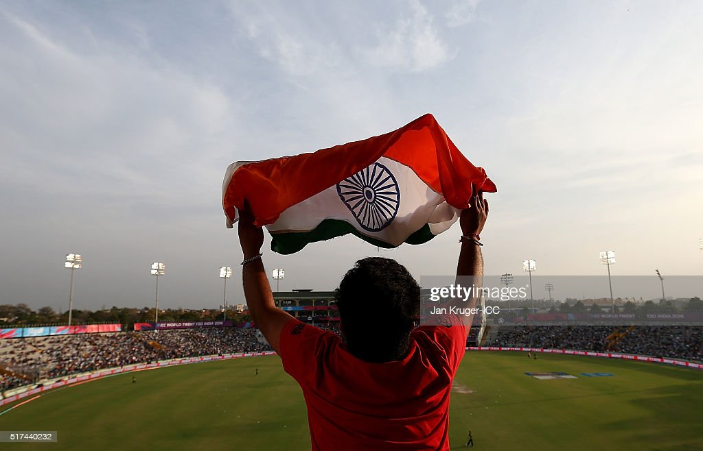 A fan waves his flag during the ICC World Twenty20 India 2016 Super 10s Group 2 match between Pakistan and Australia at the IS Bindra Stadium on...