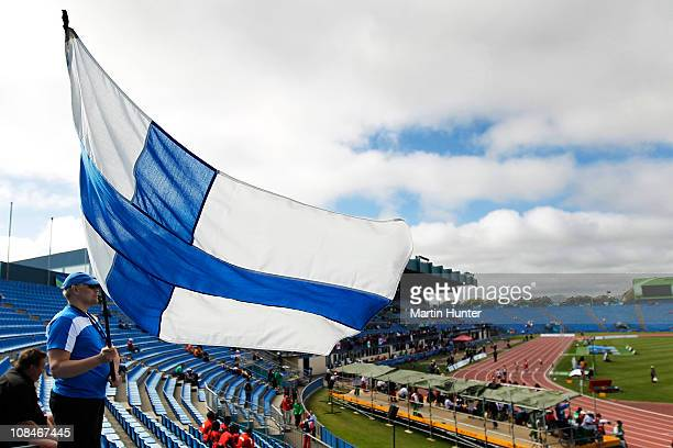 A fan waves the Finnish flag during day seven of the IPC Athletics Championships at QE II Park on January 28 2011 in Christchurch New Zealand