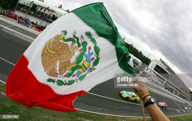 Fan waves the Mexican flag at the start of the Telcel Mexico 200 Nascar Busch Series Race at the Autrodromo Hermanos Rodriguez Race Course March 6,...