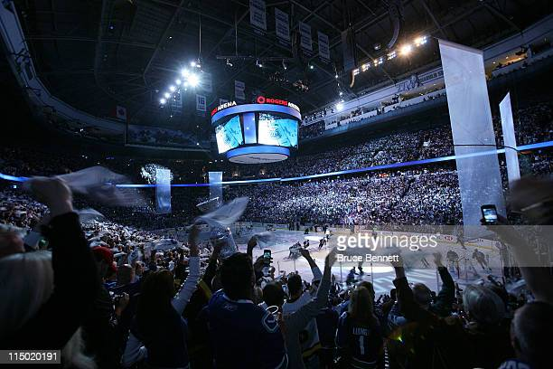 Fan waves towels before game one of the 2011 NHL Stanley Cup Finals between the Vancouver Canucks and the Boston Bruins at Rogers Arena on June 1,...