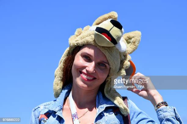 A fan wear is seen wearing a Zabivaka the 2018 World Cup Mascot hat prior to the 2018 FIFA World Cup Russia group E match between Costa Rica and...