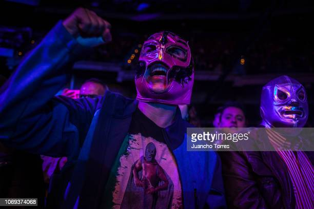A fan wearing a mask cheers on a wrestler during an AAA World Wide Wrestling match on November 16 2018 in Bogota Colombia