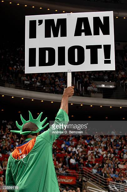 A fan wearing a Statue of Liberty costume mocks the New York Knicks during the game against the Orlando Magic on February 3 at Amway Arena in Orlando...