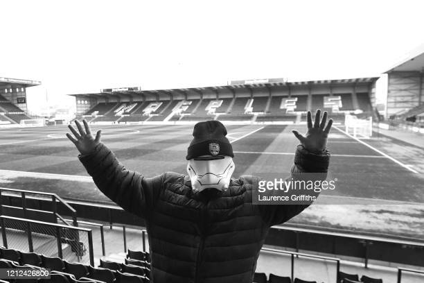 Fan wearing a storm trooper mask pictured prior to the Vanarama National League match between Notts County and Eastleigh at Meadow Lane on March 14,...