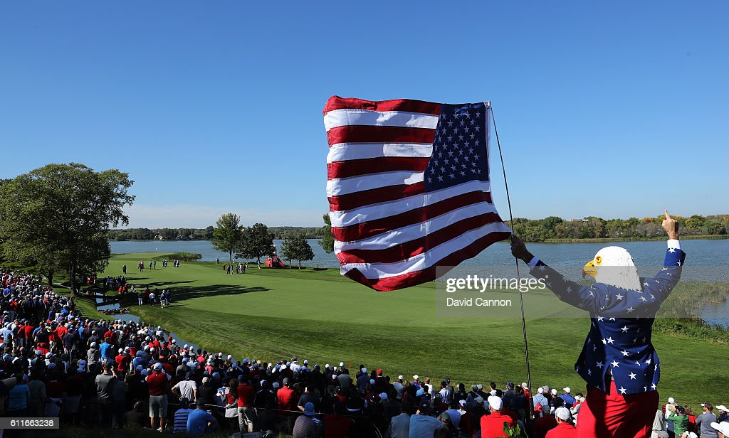 A fan wearing an eagle mask cheers during afternoon fourball matches of the 2016 Ryder Cup at Hazeltine National Golf Club on September 30, 2016 in Chaska, Minnesota.
