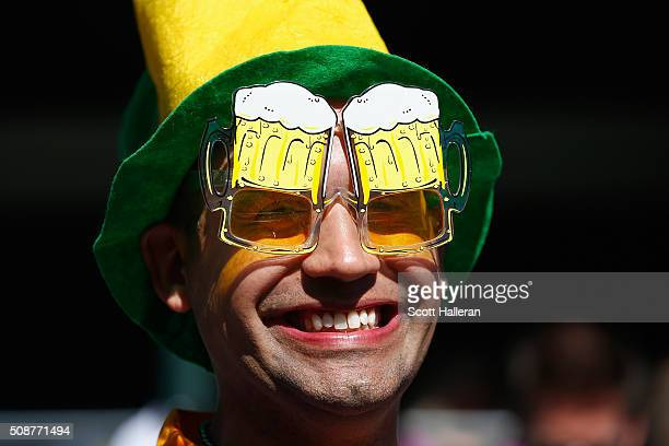 A fan wearing beer goggle glasses on the 16th hole during the third round of the Waste Management Phoenix Open at TPC Scottsdale on February 6 2016...