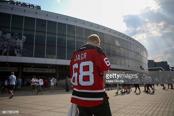 A fan wearing hockey jersey with name of Czech hockey player Jaromir Jagr arrives for the 2016 World Cup of Hockey preparation match between Czech...