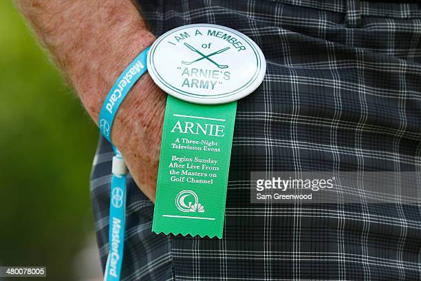 A fan wears a badge that reads I am a member of Arnie's Army during the third round of the Arnold Palmer Invitational presented by MasterCard at the...