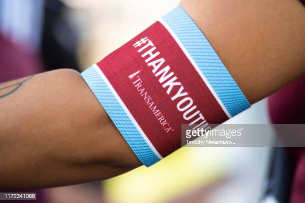 A fan wears a commemorative arm band for Tim Howard of the Colorado Rapids at Dick's Sporting Goods Park on September 29 2019 in Commerce City...