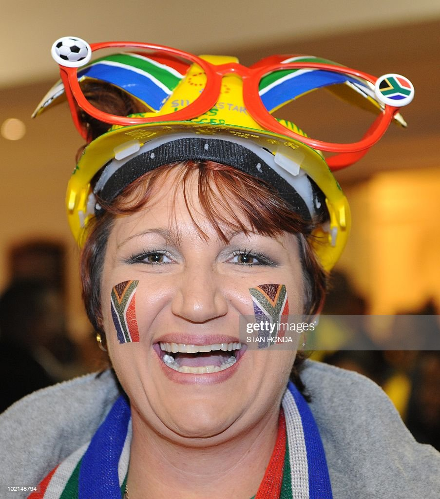 A fan wears a makarapa before watching the South Africa vs.Uruguay game at the Silverstar Casino in Muldersdrift on June 16, 2010 during the 2010 World Cup football tournament. AFP PHOTO/Stan Honda
