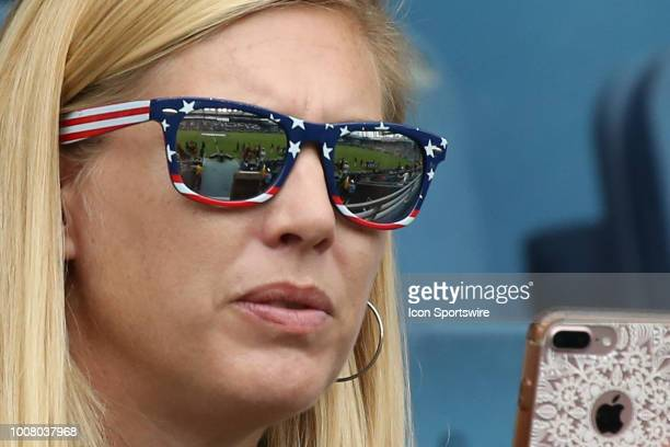 A fan wears USA sunglasses before a women's soccer match between Brazil and Australia in the 2018 Tournament of Nations on July 26 2018 at Children's...