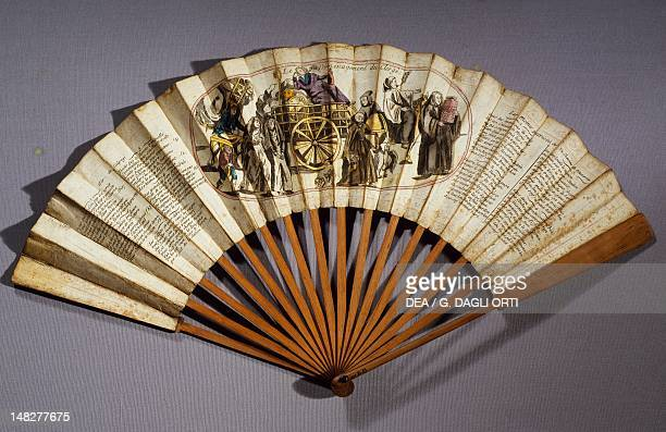 Fan with a drawing representing the departure of the clergy France 18th Century Vizille Château Musée De La Révolution Francaise