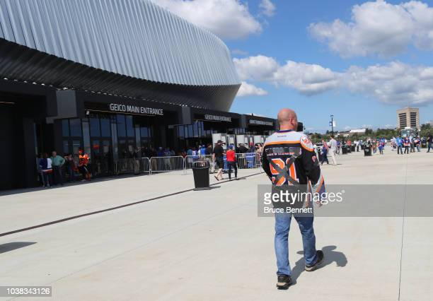 A fan with a John Tavares jersey arrives for the game between the New York Islanders and the Philadelphia Flyers at the Nassau Veterans Memorial...
