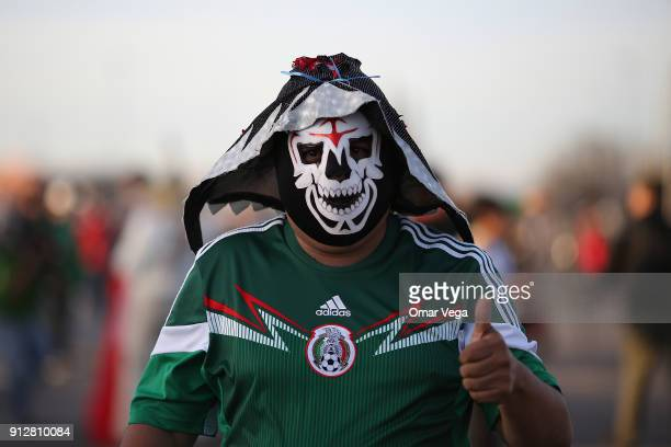 A fan with a Mexican wrestling mask poses prior the friendly match between Mexico and Bosnia and Herzegovina at Alamodome Stadium on January 31 2017...