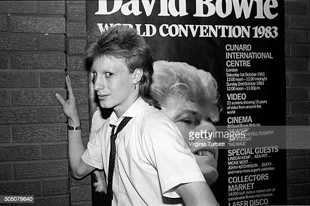 A fan with a Ziggy Stardust style haircut attends the David Bowie World Convention 1983 London 1st October 1983