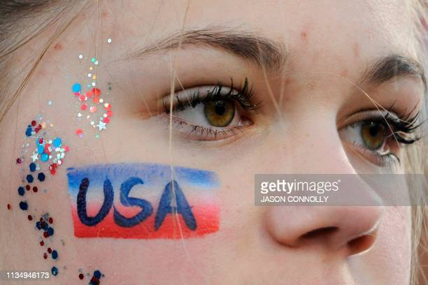 Fan with her face painted in support of the United States Women's National Team is seen during the women's international friendly football match...