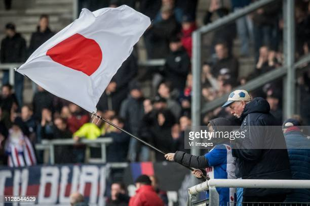 Fan with Japanese flag for Yuki Kobayashi of sc Heerenveen during the Dutch Eredivisie match between sc Heerenveen and Willem II Tilburg at Abe...