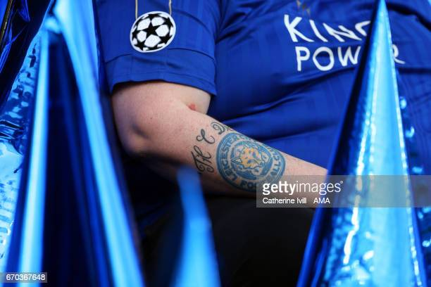 Fan with the Leicester City club badge tattoo on his arm during the UEFA Champions League Quarter Final second leg match between Leicester City and...