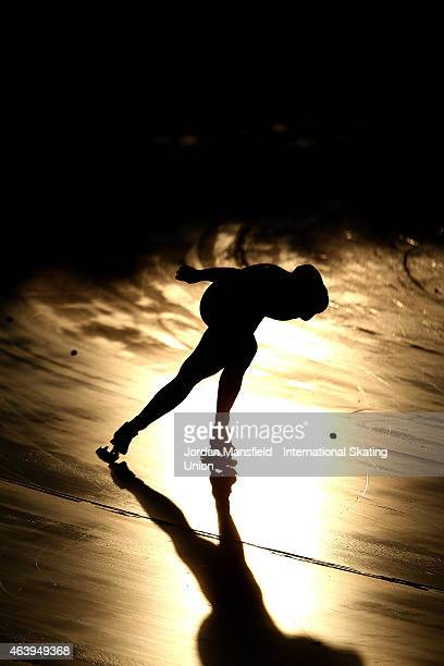 Fan Yang of China competes in his Men's 1500m race during day one of the ISU World Junior Speed Skating Championships at Stegny Ice Rink on February...