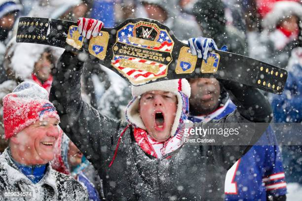 Fan yells during the second quarter of a game between the Buffalo Bills and Indianapolis Colts on December 10, 2017 at New Era Field in Orchard Park,...