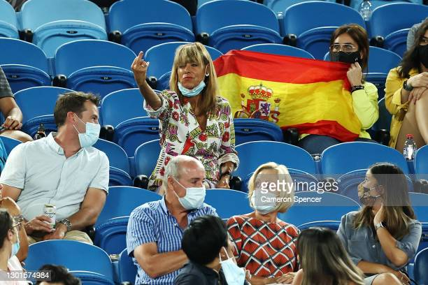 Fan yells out abuse at Rafael Nadal of Spain during his Men's Singles second round match against Michael Mmoh of the United States during day four of...