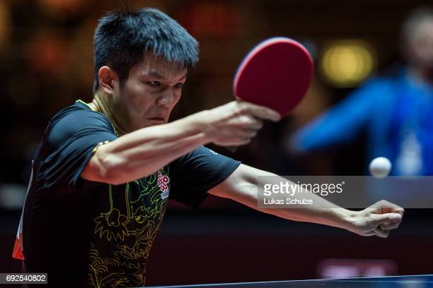 Fan Zhendong of China attends the Men's Singles Final match of the Table Tennis World Championship at Messe Duesseldorf on June 5 2017 in Dusseldorf...