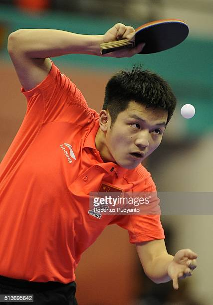 Fan Zhendong of China competes against Kristian Karlsson of Sweden during the 2016 World Table Tennis Championship Men's Team Division quarterfinal...