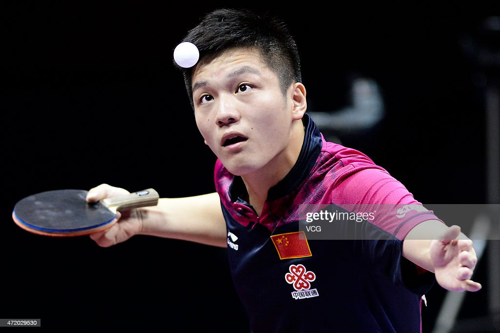 Fan Zhendong of China competes against Ma Long of China during men's singles semi-final match on day eight of the 2015 World Table Tennis Championships at the Suzhou International Expo Center on May 3, 2015 in Suzhou, China.