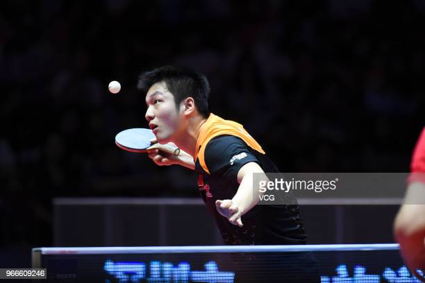 Fan Zhendong of China competes during men's singles final match against Ma Long of China on day four of the 2018 ITTF World Tour China Open at Baoan...