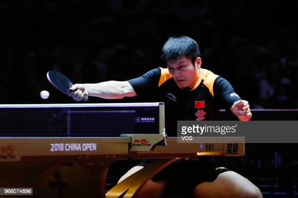 Fan Zhendong of China competes in the Men's Singles semi-final match against Lin Gaoyuan of China during day three of the 2018 ITTF World Tour China...