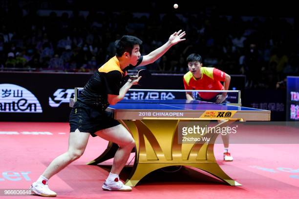 Fan Zhendong of China in action at the men's singles final compete with Ma Long of China during the 2018 ITTF World Tour China Open on June 3 2018 in...