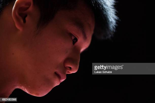 Fan Zhendong of China is focused after winning the Men's Singles Semi Final match of the Table Tennis World Championship at Messe Duesseldorf on June...