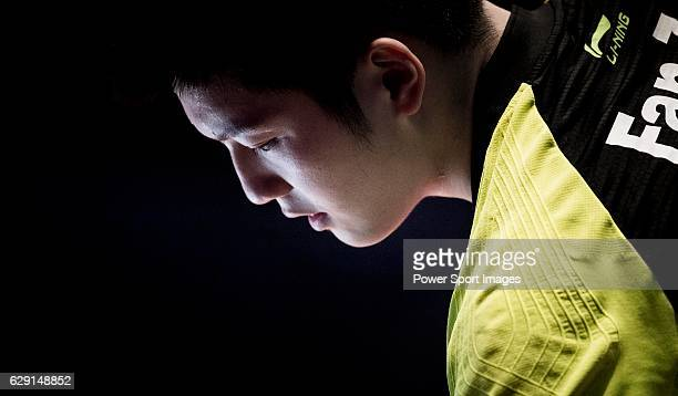 Fan Zhendong of China looks on during his Men's Singles Final match against Long Ma of China during the Seamaster Qatar 2016 ITTF World Tour Grand...