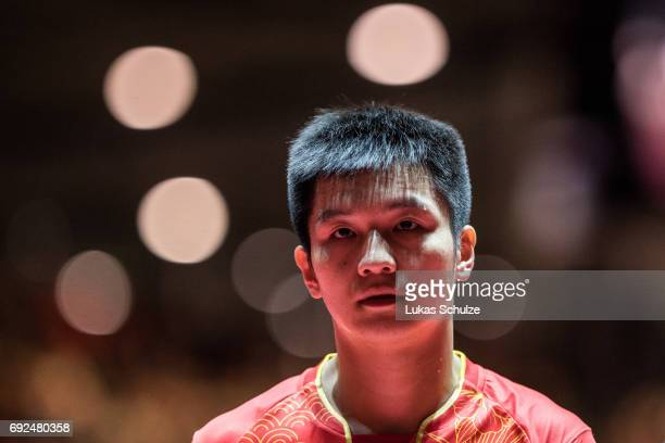 Fan Zhendong of China looks up after winning the Men's Singles Semi Final match of the Table Tennis World Championship at Messe Duesseldorf on June 5...