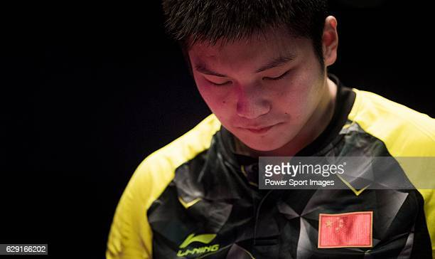 Fan Zhendong of China reacts after loosing a point during his Men's Singles Final match against Long Ma of China during the Seamaster Qatar 2016 ITTF...