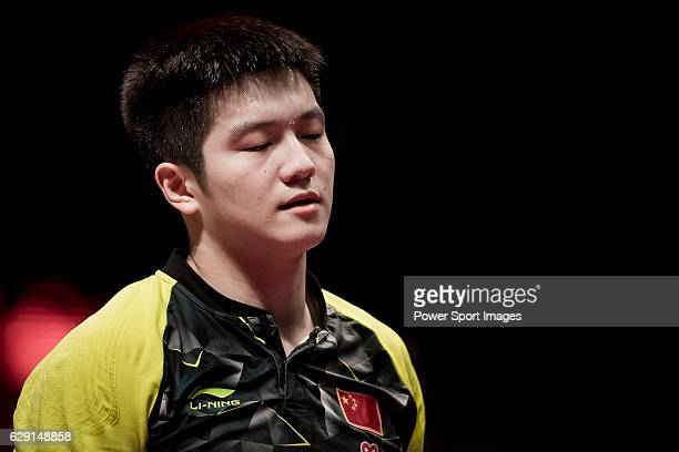 Fan Zhendong of China reacts during his Men's Singles Final match against Long Ma of China during the Seamaster Qatar 2016 ITTF World Tour Grand...