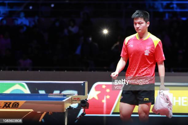 Fan Zhendong of China reacts in the Men's Singles Quarterfinals against Hugo Calderano of Brazil during day three of the 2018 ITTF World Tour Grand...