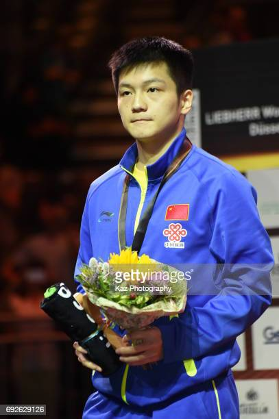 Fan Zhendong of China wins the silver medal in the Men's Single during the Table Tennis World Championship at Messe Duesseldorf on June 5 2017 in...